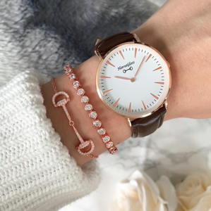 HorseGloss Classic Bit Watch Rose Gold / Brown Leather