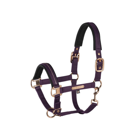 Eskadron Heritage Glossy Double Pin Halter Deep Berry & Rose Gold
