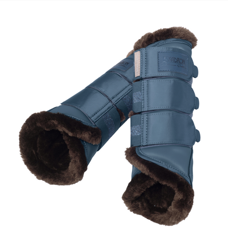 Eskadron Platinum Faux Fur Tendon Boots Vintage Blue [Set of 4]