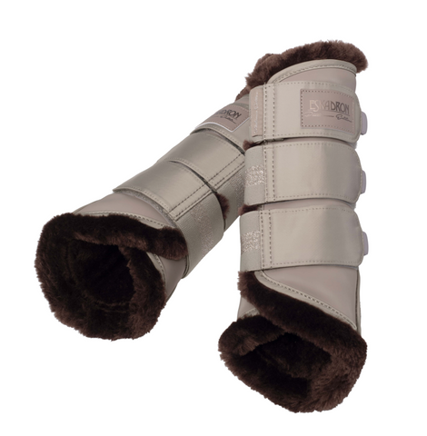 Eskadron Platinum Faux Fur Tendon Boots Greige [Set of 4]