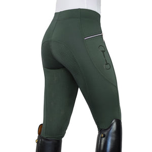HorseGloss Technical Stretch Leggings Full Seat Silicone Olive