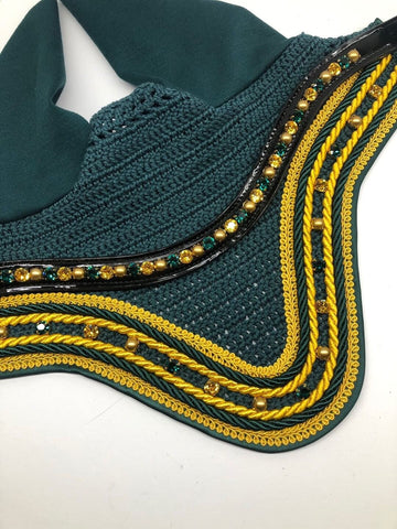 By Heike Green & Gold Set Swarovski Bonnet & Browband [In Stock]