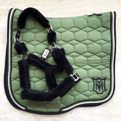 Mattes Khaki / Black Sheen Dressage L - In Stock