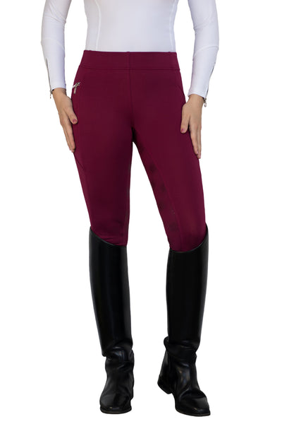 HorseGloss Technical Stretch Full Seat Silicone Leggings Burgundy