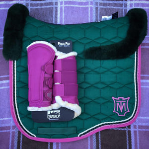 Mattes Velvet Dressage Pad with Top Fleece Candy Apple