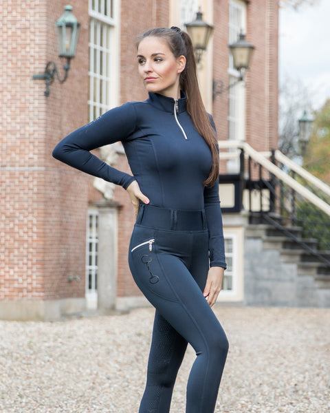 HorseGloss Kylie High Waisted Full Silicone Seat Leggings - Navy Blue