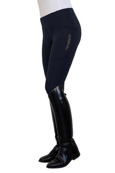 HorseGloss Technical Stretch Full Seat Silicone Leggings Navy