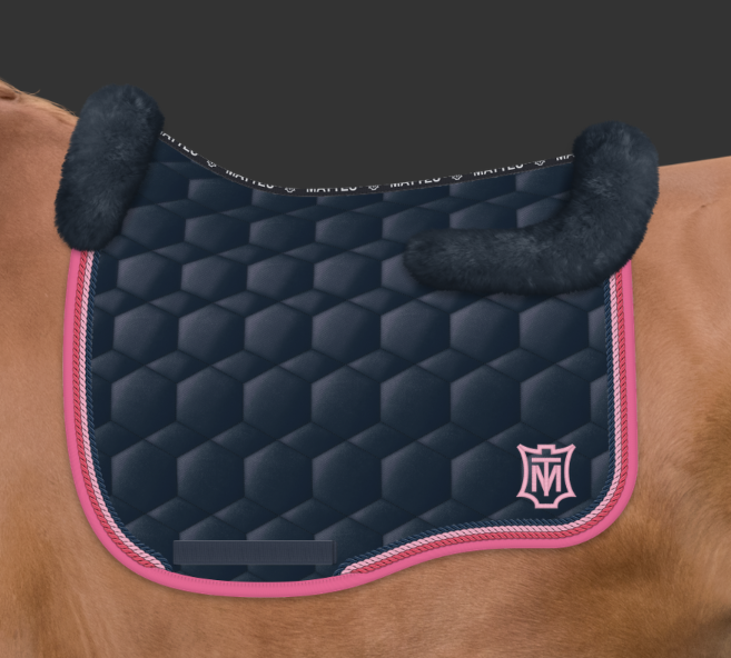 Mattes Navy / Raspberry Sheen Saddle Pad - Top Fleece Only [Custom Order]