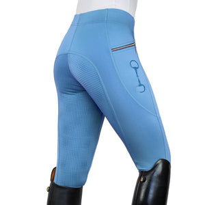 HorseGloss Techincal Stretch Full Seat Silicone Legging Sky Blue