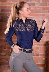 Design by Dalia Navy Blue Roxi Long Sleeve Shirt