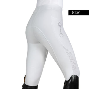 HorseGloss Limited Edition Lace Technical Stretch Leggings - White