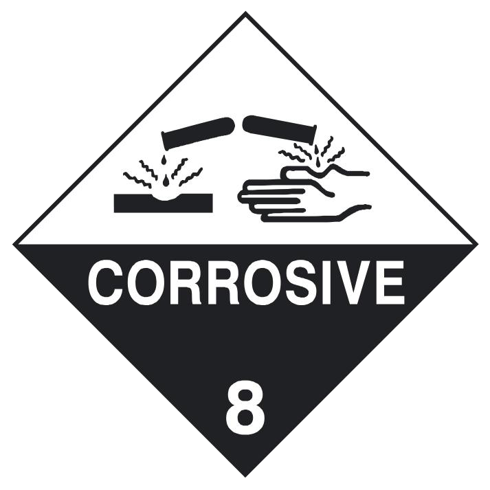 Dangerous Goods Sign Corrosive Class 8 Sign Here Signs