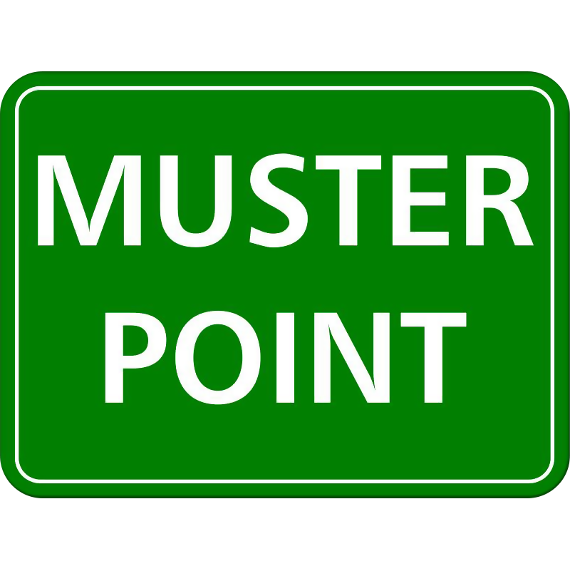 Green muster point sign