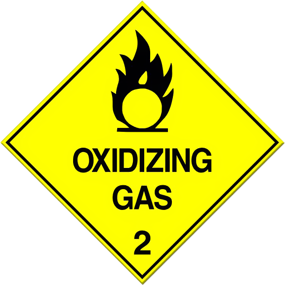 Oxidizing gas placard