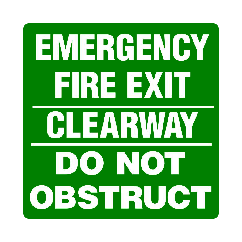 Emergency Fire Exit - Clearway - Do Not Obstruct