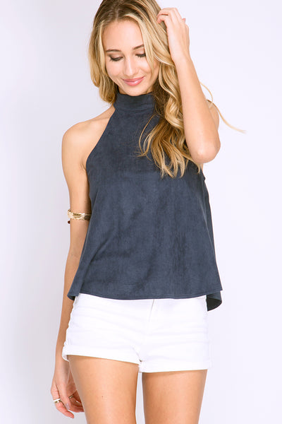 FOR THE WEEKEND FAUX SUEDE TOP