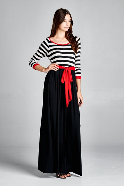 BLACK AND WHITE NOIRE MAXI DRESS