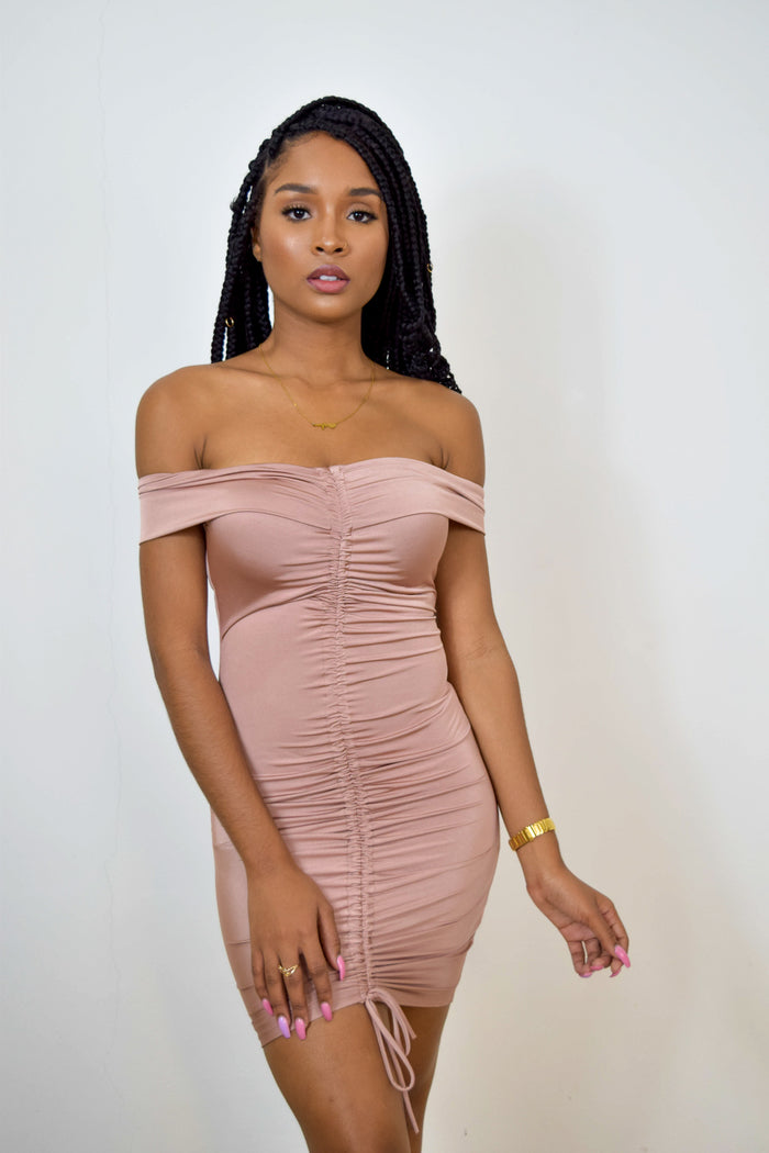 ONE LOVE RUCHED MINI DRESS