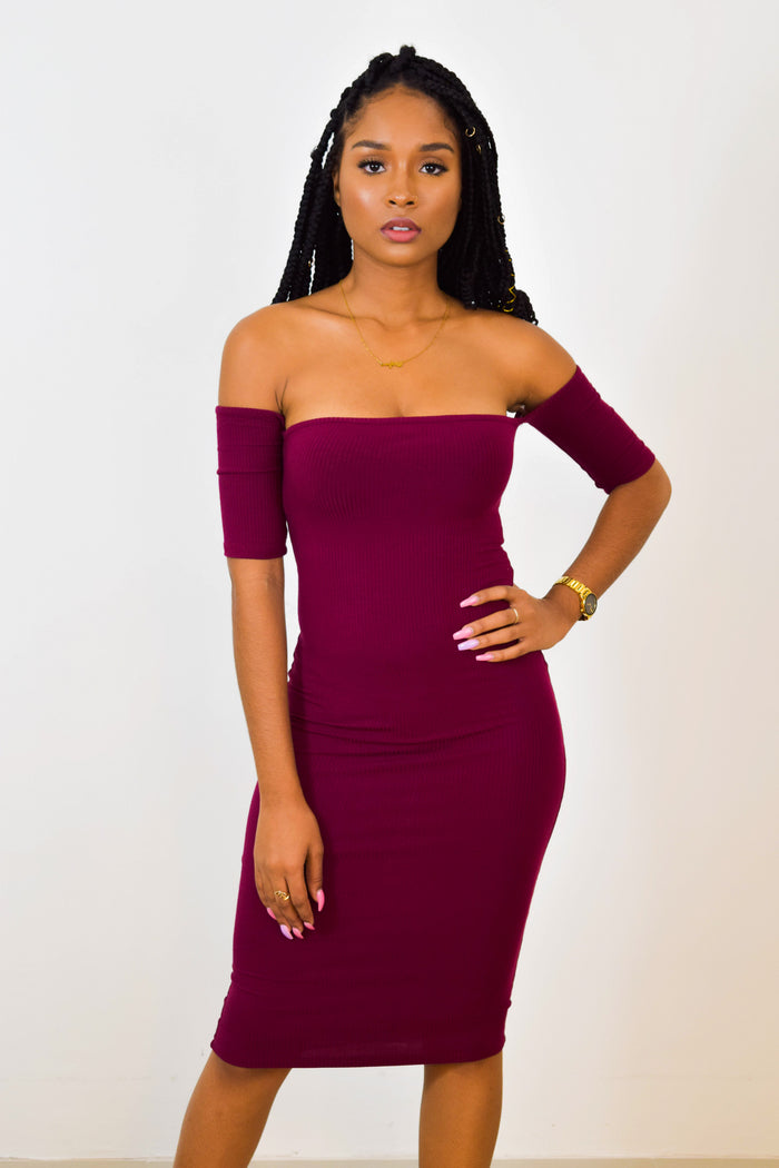 CAROLINE OFF SHOULDER MIDI DRESS