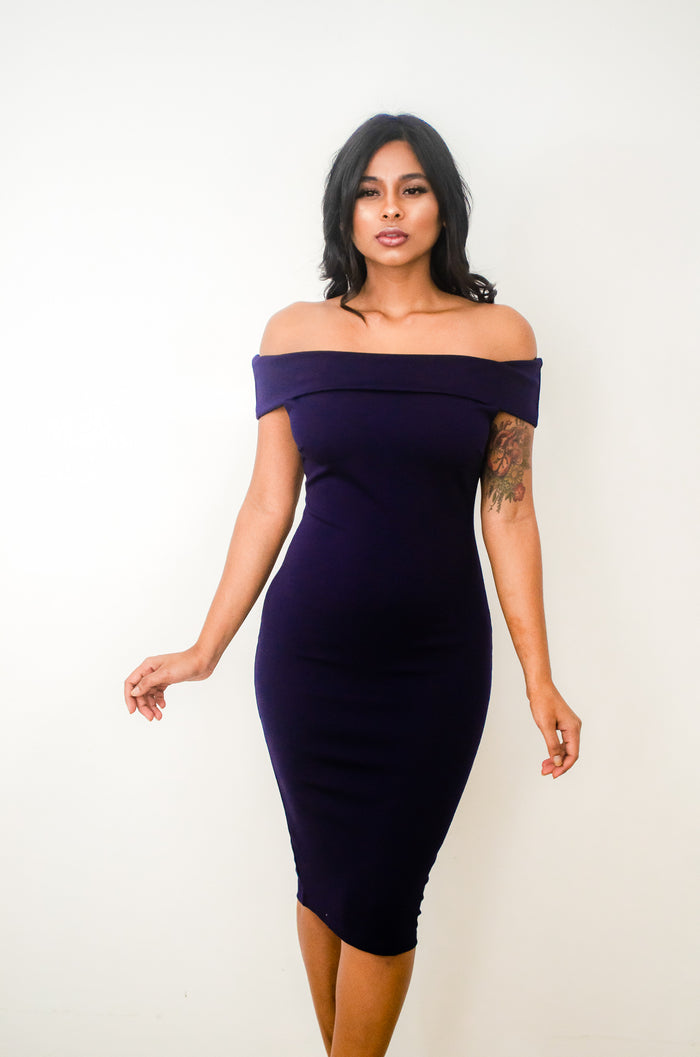 DON'T MISS ME TOO MUCH OFF THE SHOULDER MIDI DRESS
