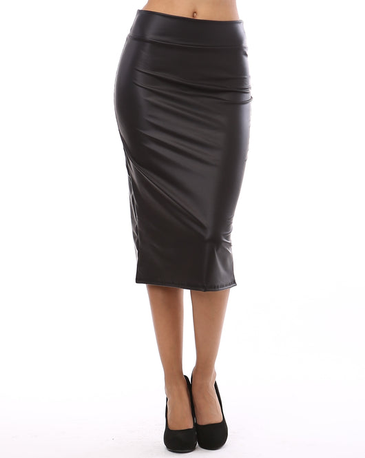 BAD GAL FAUX LEATHER MIDI SKIRT