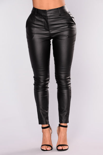 HEATHER FAUX LEATHER PANTS