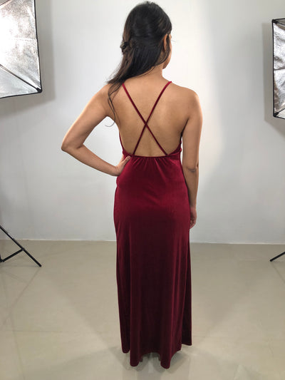 A Night Out Velvet Maxi Dress Front