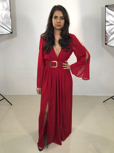 ROSEY RED BELTED MAXI DRESS