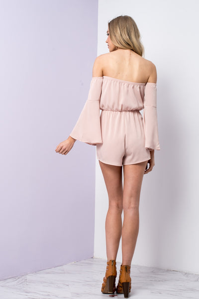 RUMBLE ROSE SATIN OFF SHOULDER ROMPER