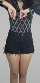ONE UP LACE UP SIDE DENIM SHORTS