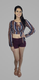 GET IN LINE STRIPE CROP TOP