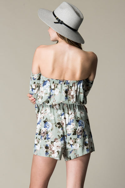 YOU FEELIN ME FLORAL PRINT OFF SHOULDER ROMPER