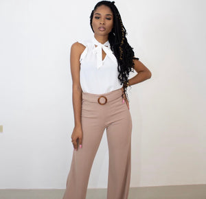 NOT DOWN FOR FEELINGS BELTED PANTS (MOCHA)