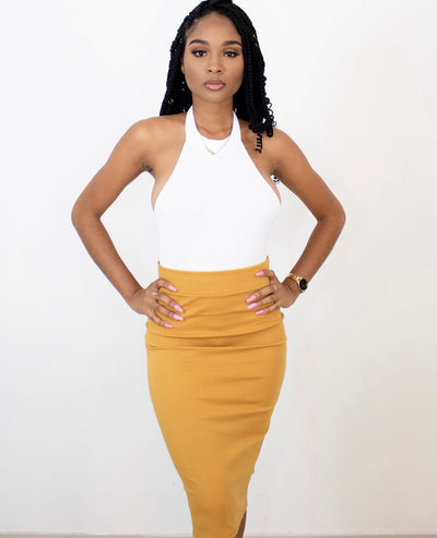 HAVE IT ALL MIDI SKIRT (MUSTARD)
