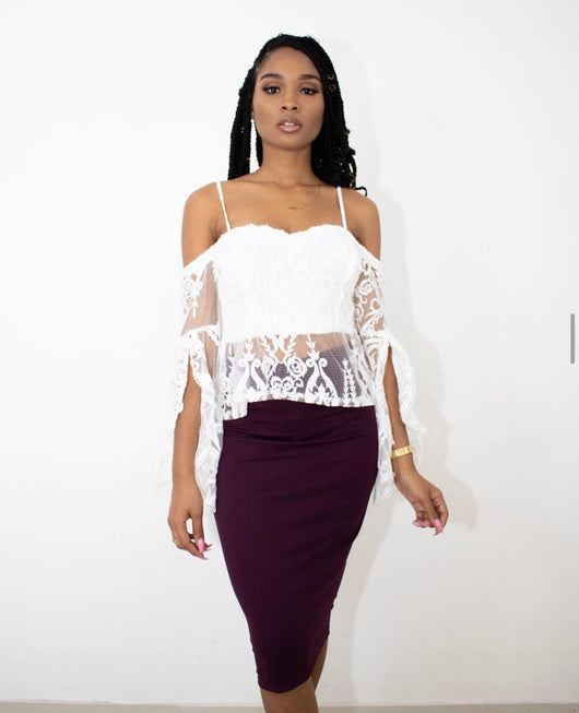HAVE IT ALL MIDI SKIRT (WINE)