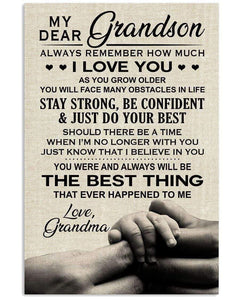 My Dear Grandson Always Remember How Much I Love You Family Poster , My Dear Grandson Poster, Family Poster 24x36