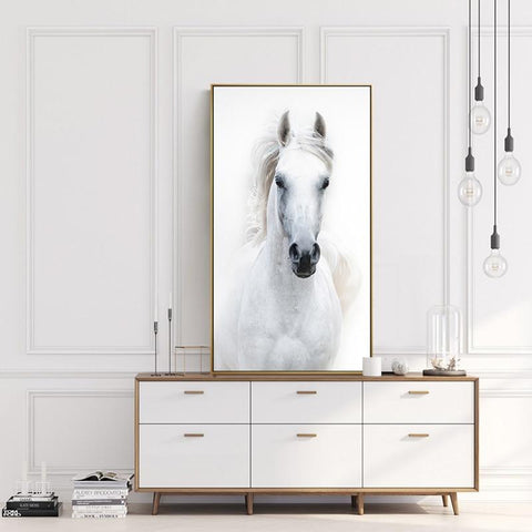 Nordic Style White Horse Canvas White Poster Print Modern Wall Art Pictures