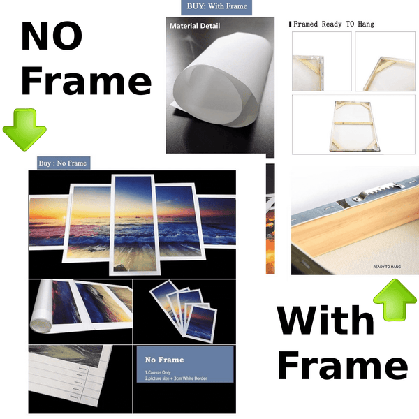 poster print art with frame and no frame