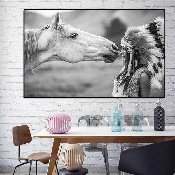 Black and White Native Indian with Horse Portrait Canvas Art Scandinavian Poster Print Wall Picture