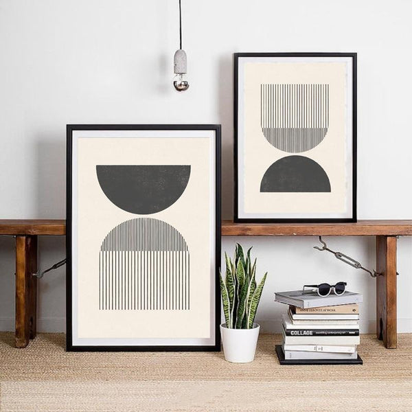 Mid century Style Woodblock Posters Print In Classic Geometric Shapes & Neutral Colors Canvas Painting