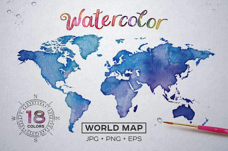 Buy Watercolor World Map Printable Poster 18 Vector and Raster Worldmap JPG EPS PNG  Etsy Instant Download Free Sample