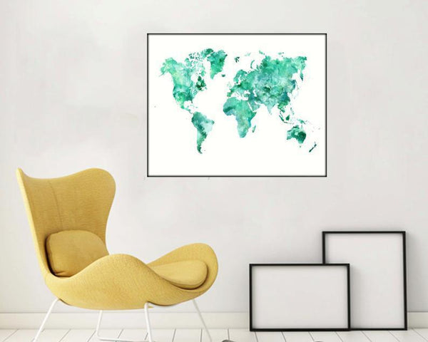 Large World Map Poster World Map Aquamarine World Map Prints Watercolor World Map Art Decor World Map Art Prints World Map Large Worldmap