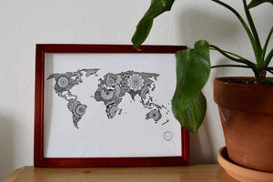 Mandalove frame wall decor  illustration by Mandalove worldmap world map poster