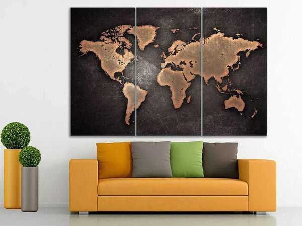 World map canvas Black world map art World map poster Travel map print World map push pin Brown world map art City poster Large print canvas