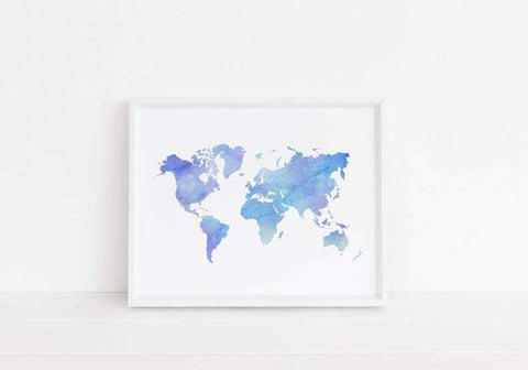 Light Blue Watercolor World Map Printable  World Map Download  Printable World Map  World Map Printable World Map Digital Art  Geography art