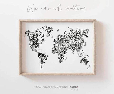 The WORLD S SCRIPTS MAP  World Map Wall Art  World Map Poster  World Map Print  World Typography Map  World Map Printable