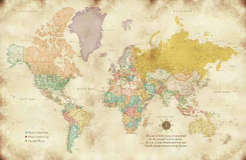 Big Map Print  Detailed Worldmap  40X60 Inches  Large Wall decor  World Travel  Vintage map  Travel Gift for parents  Teenage Room map