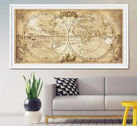 Old World Map Historic Map Antique Style World Map Vintage Map Home Decor  Old Maps  Antique maps  World map wall art  worldmap vintage L18