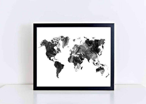 World Map  marble   Worldmap  Large World Map Art  World Map outline  Worldmap Poster  Black and White World Map  Watercolor World map