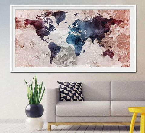 World Map Poster  Art Poster  Watercolor Poster  Wall Art Poster  Home Decor Poster  World map poster large  world maps  L19
